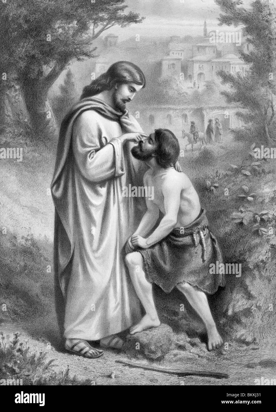 Vintage print c1873 depicting Christ restoring sight to a blind man - a miracle outlined in the Gospel of John (Chapter - Stock Image