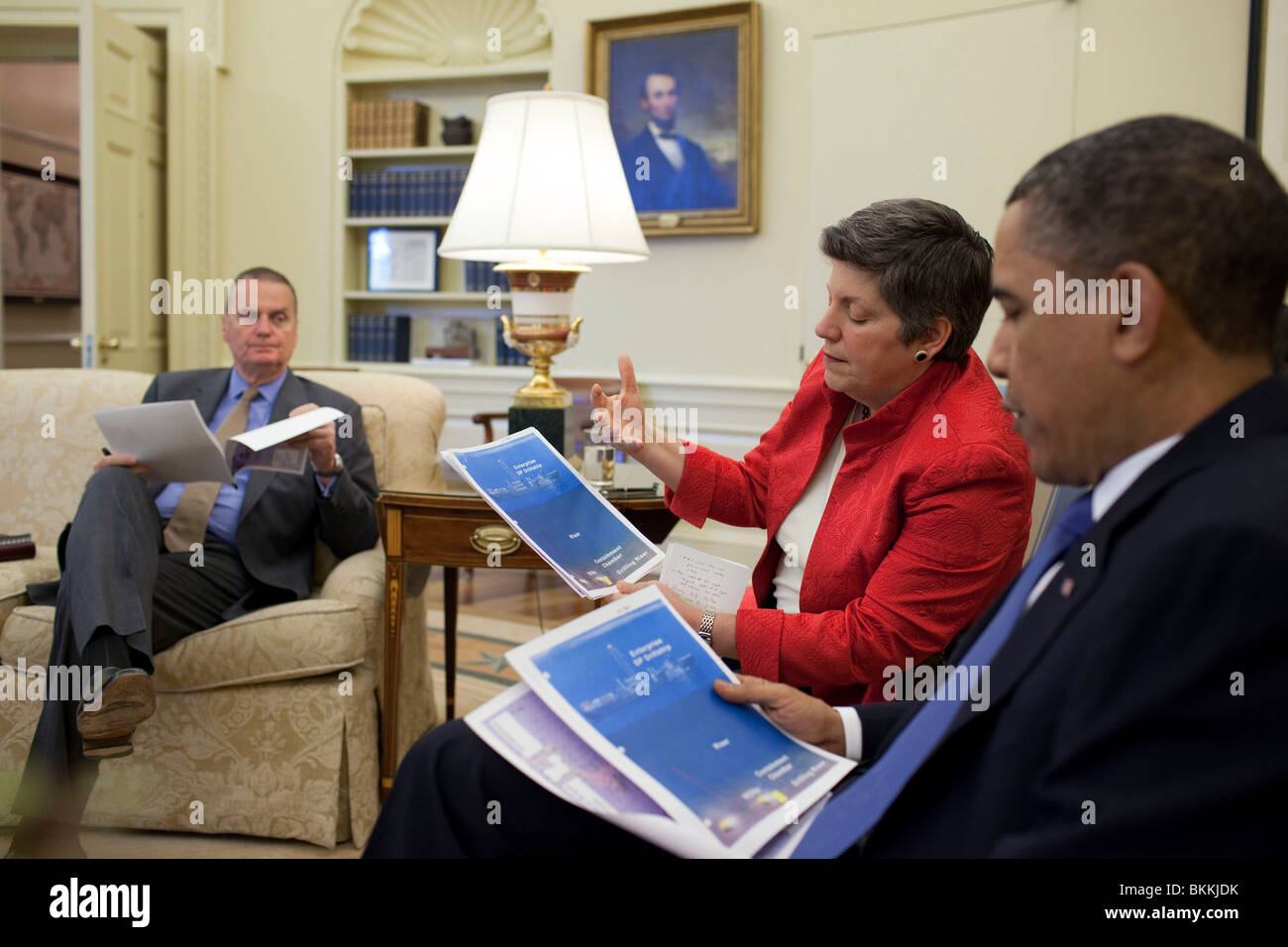 Obama meets with Homeland Security Secretary Janet Napolitano and senior administration officials - Stock Image