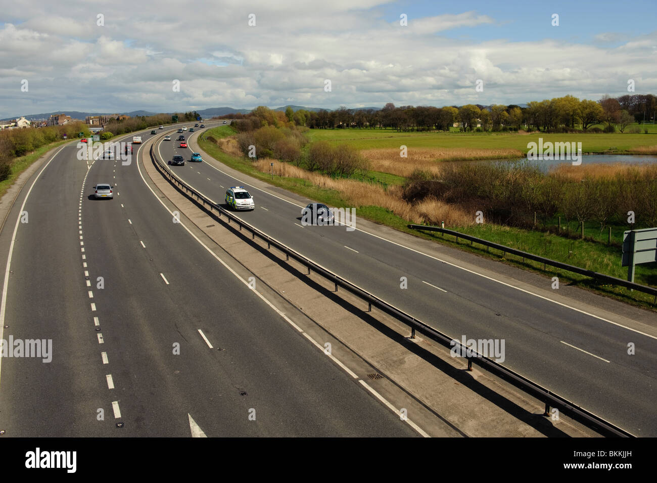 Traffic on the A55 expressway dual carriageway road near Rhyl, north wales UK - Stock Image