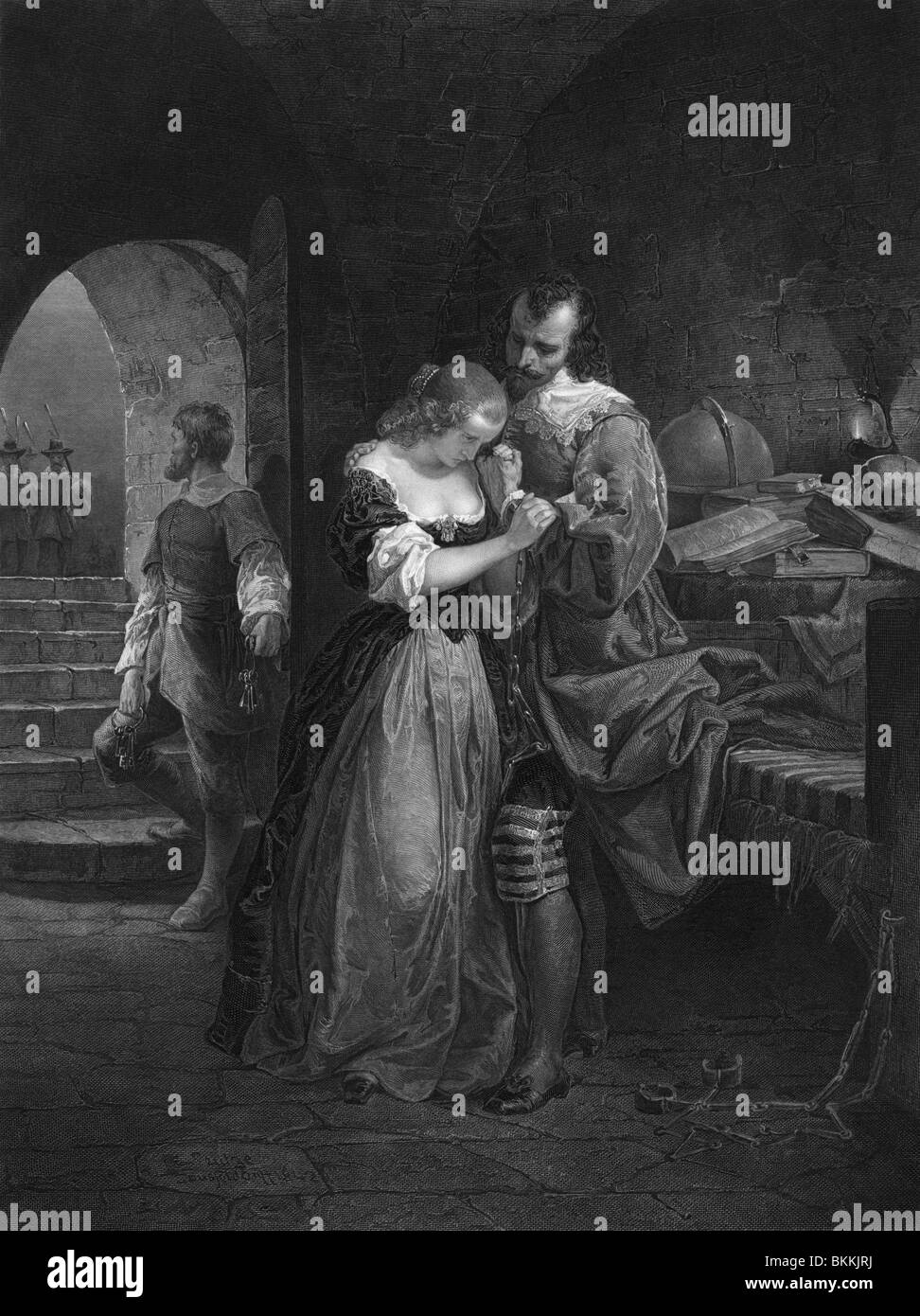 Vintage print depicting Sir Walter Raleigh bidding farewell to his wife on the morning of his execution for treason - Stock Image