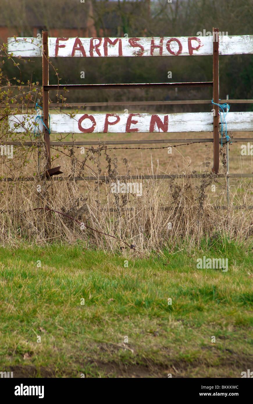 Farm Shop Open Sign Rustic - Stock Image