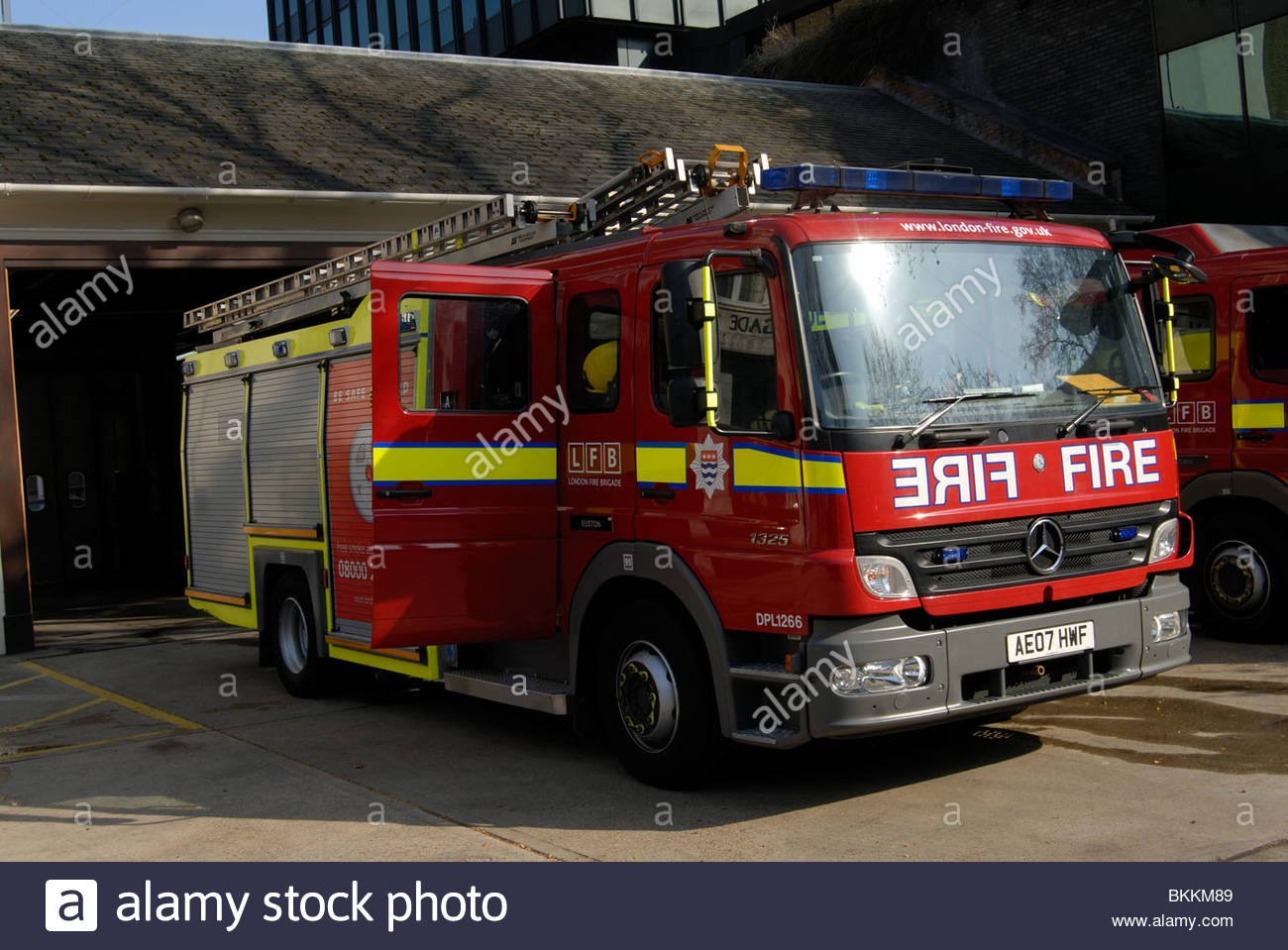 Perfect London UK Mercedes Fire Tender Outside Euston Fire Station.   Stock Image