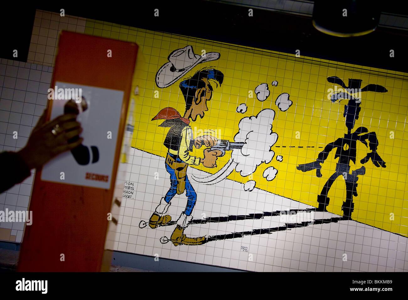 Wall painted representative Lucky Luke in subway station. Charleroi ...