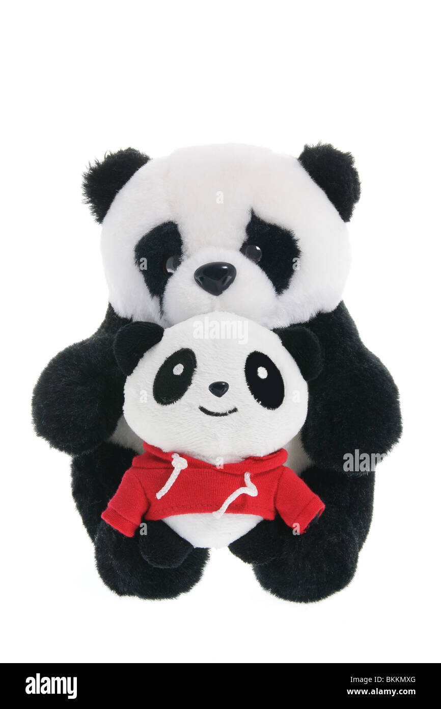 Soft Toy Panda with Baby - Stock Image