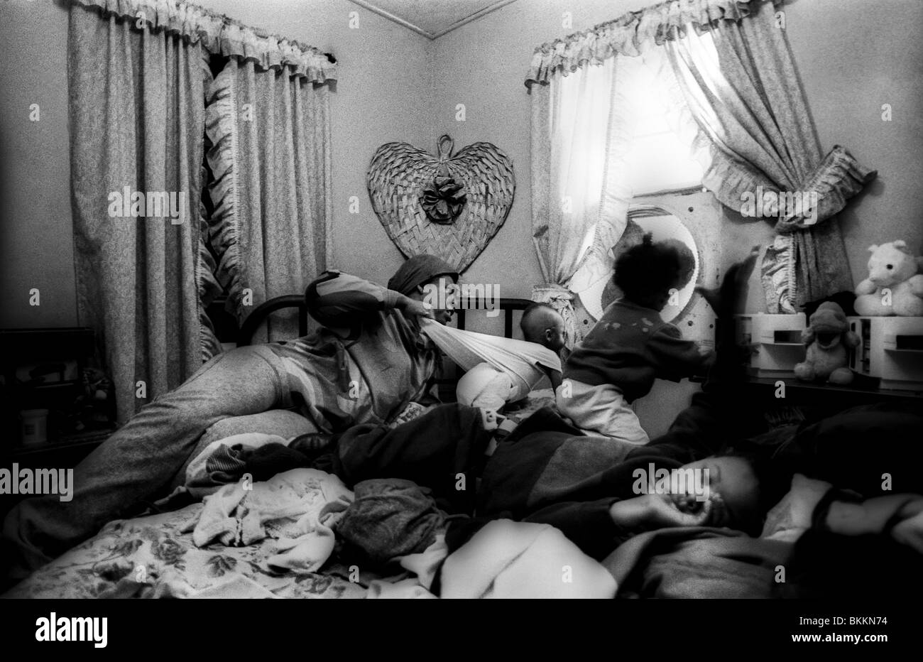 A Lake Providence family in their home in 1995. At this time Lake providence was deemed the poorest town in the - Stock Image