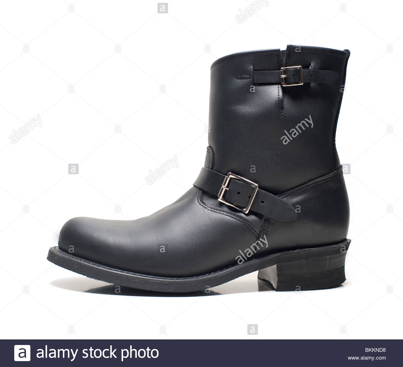 Mens Frye Engineer Boot Black leather, Boots trend fashion statement Buckle dropped out on White Background, Frye - Stock Image