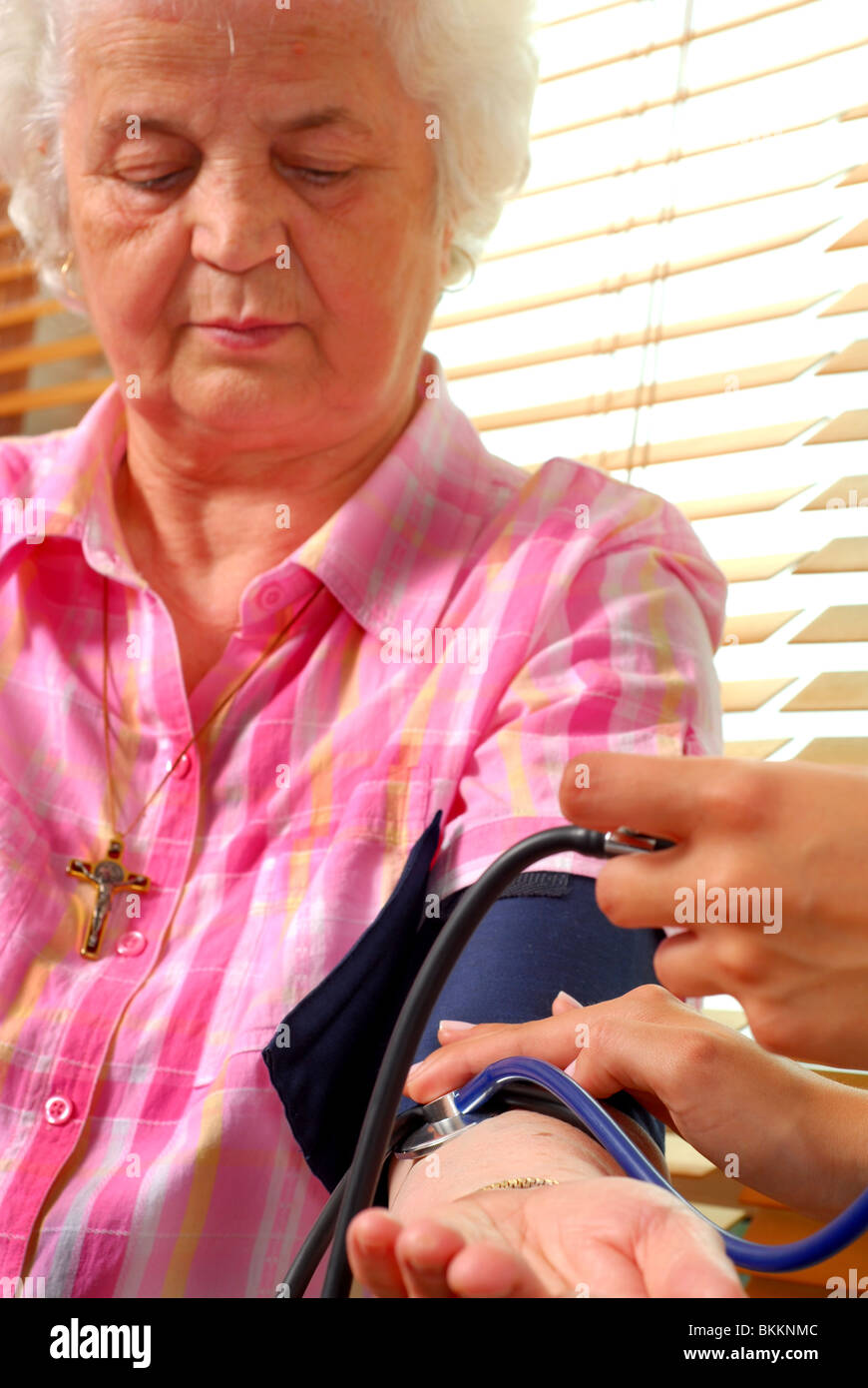 Close-up image of a blood pressure check up - Stock Image