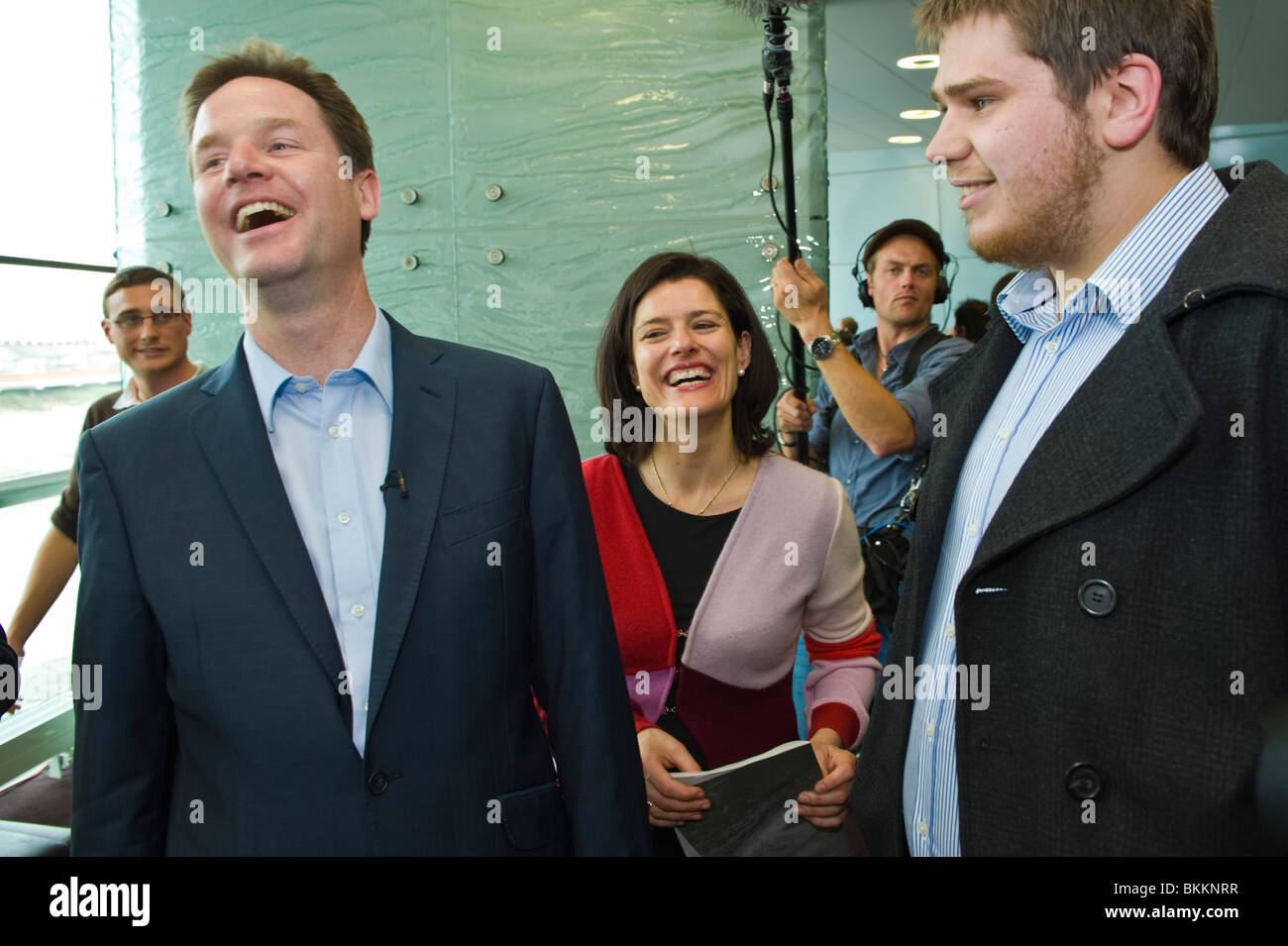 Liberal Democrats leader Nick Clegg and wife Miriam surrounded by supporters and media on campaign visit to Newport - Stock Image