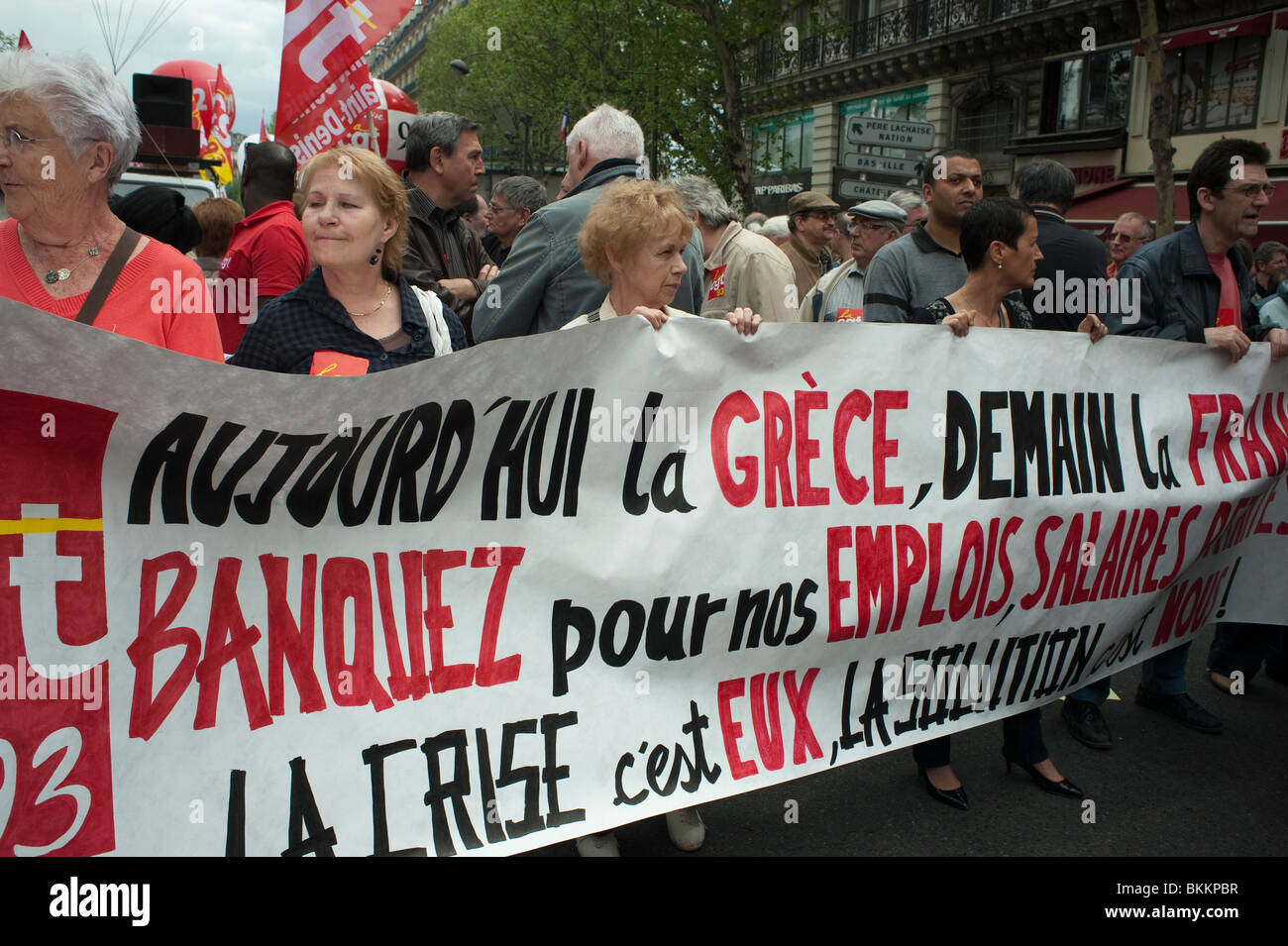 France's trade unions, protests against government austerity plans, Paris, Banner  'Today Greece, Tomorrow - Stock Image