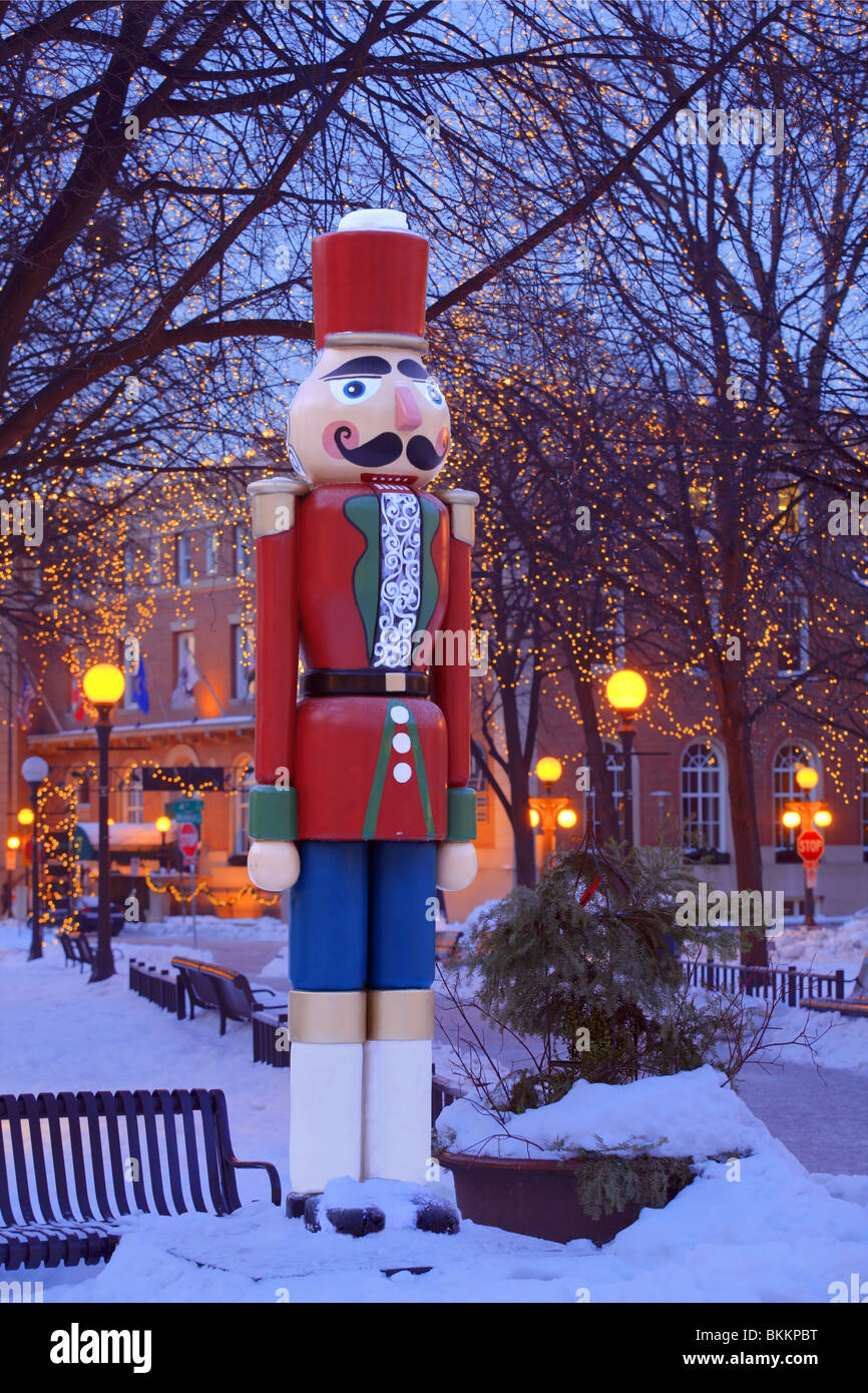NUTCRACKER HOLIDAY DECORATION IN RICE PARK, DOWNTOWN ST. PAUL, MINNESOTA.  DECEMBER. - Stock Image