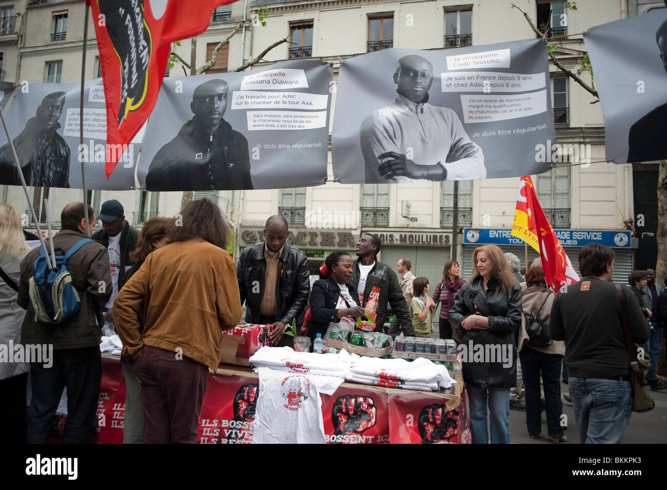 France's trade unions, African Illegal Immigrants Posters, Street Stalls, in May 1, May Day Demonstration, Rally, - Stock Image