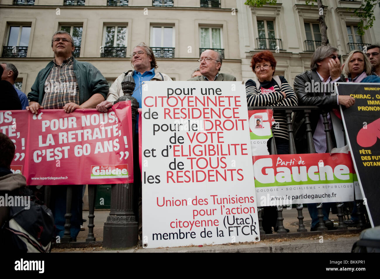 Seniors at France's trade unions, protests against government plans to overhaul the national pension system. - Stock Image