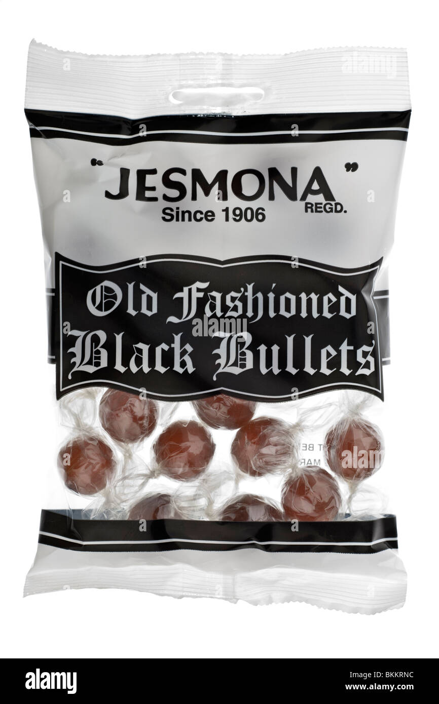 Bag of Jesmona old fashioned black bullets boiled sweets - Stock Image