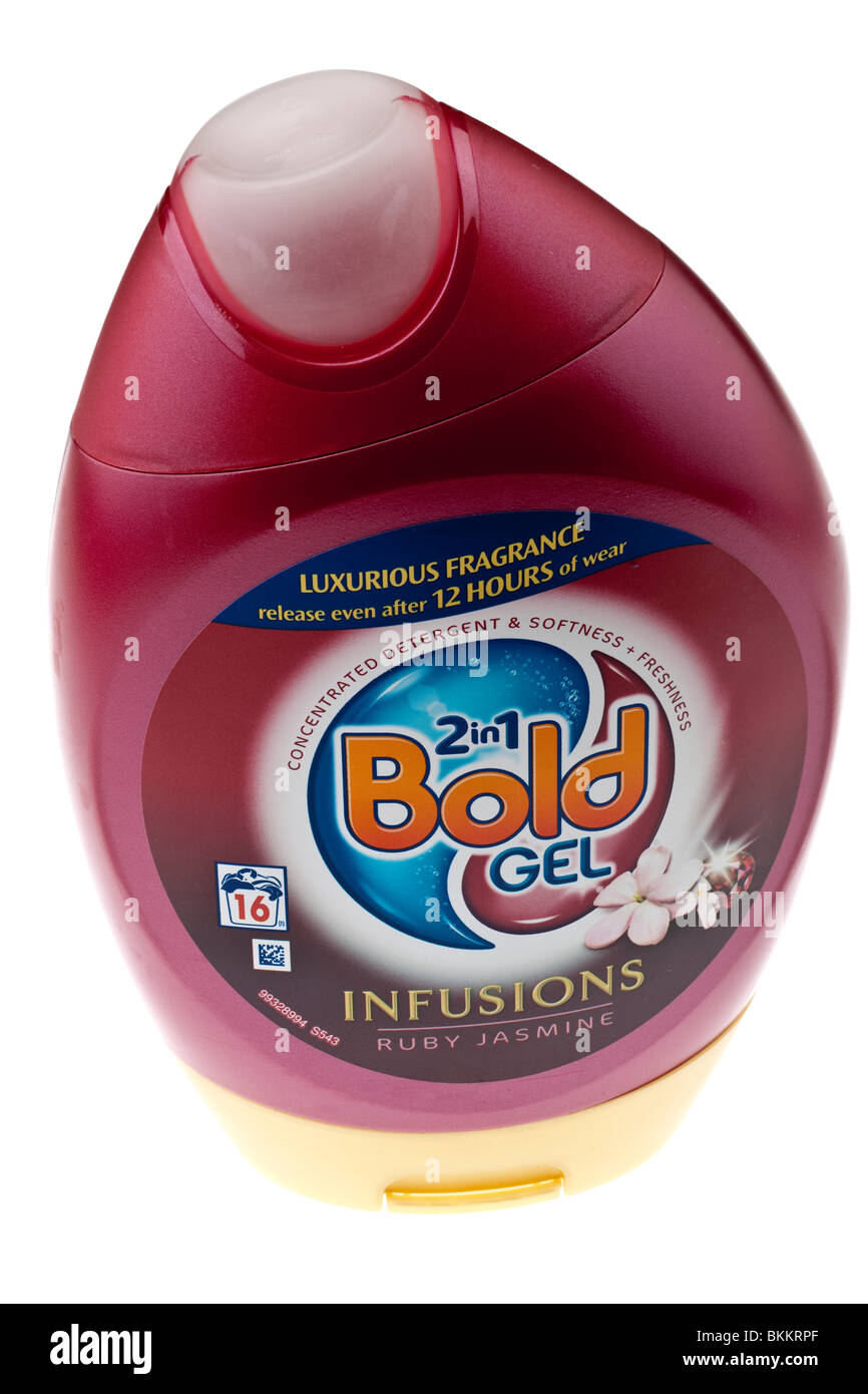 Bottle of Bold 2 in 1 Infusions Gel washing detergent - Stock Image