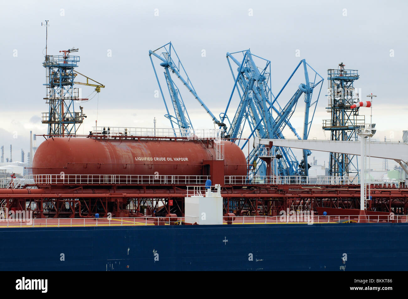 FMT Fawley Marine Terminal Southampton Water England UK A liquified crude oil vapour tank onboard  tanker moored - Stock Image