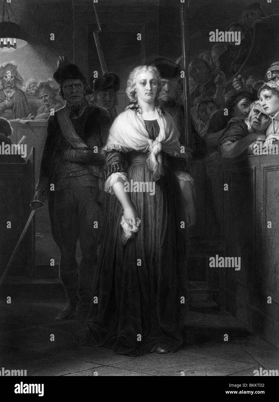 Vintage engraving print of French Queen Marie Antoinette being condemned to death by the Revolutionary Tribunal - Stock Image