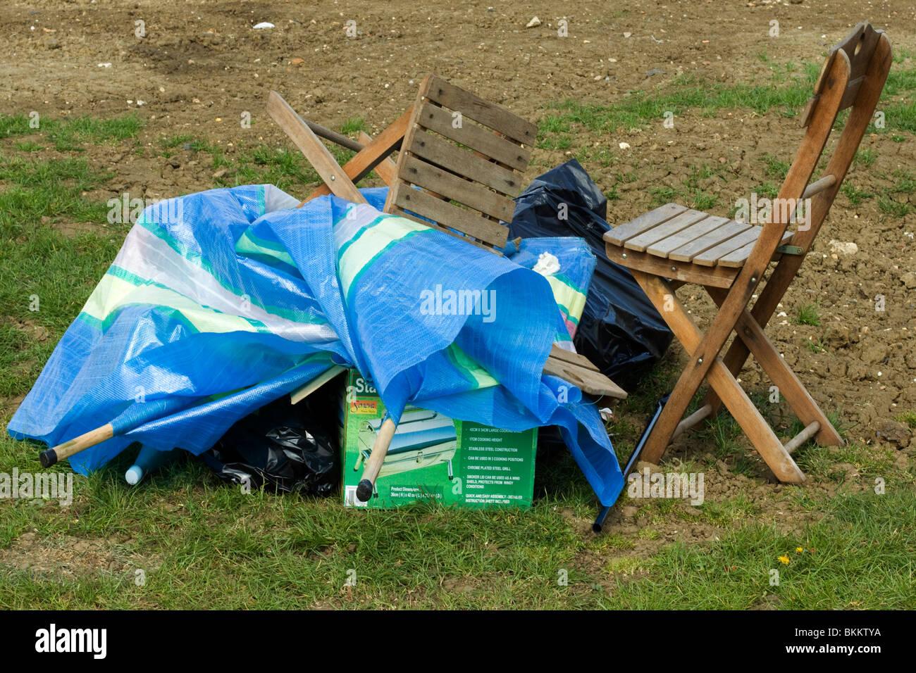 Rubbish left over on a campsite Big Bang Bus Show Santa Pod Raceway England Uk - Stock Image