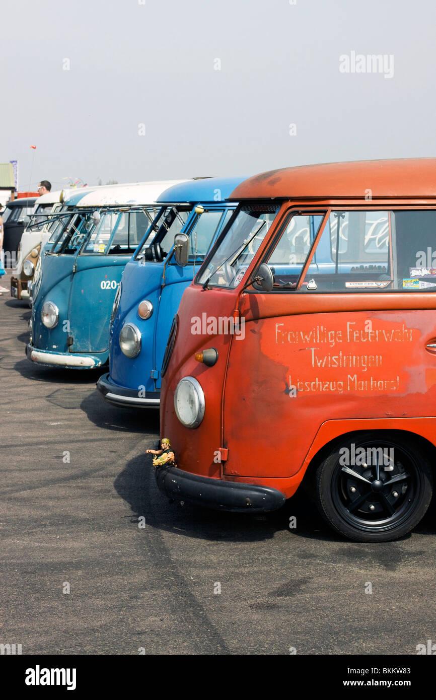 Row Of Volkswagen Rat Look Buses At The Big Bang Bus Show Santa Pod Raceway England
