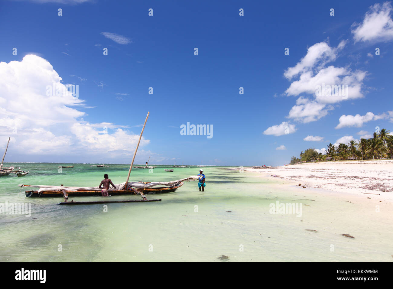 Kenya, Mombasa, Africa, Dugout Fishing Canoe, Dhow, dhows at Diani beach - Stock Image