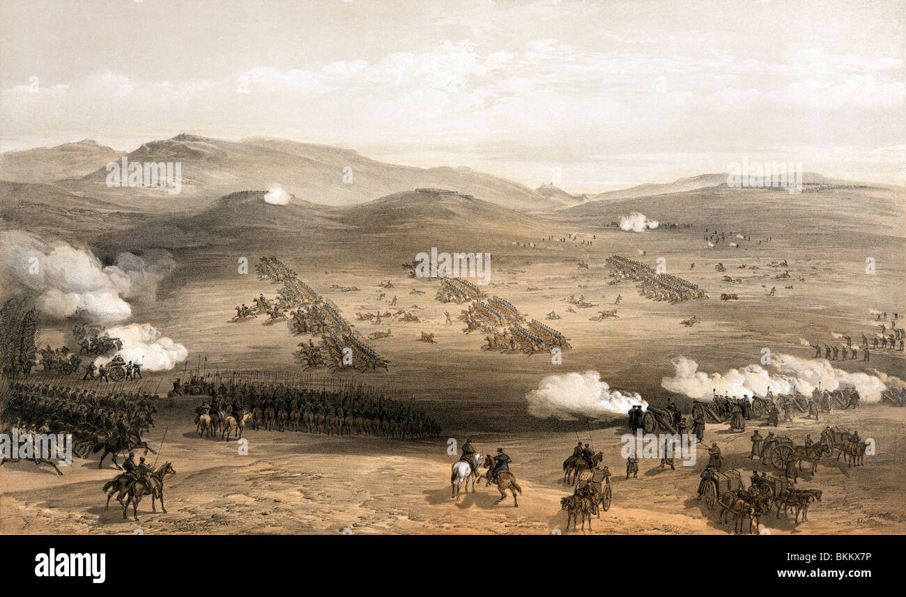 Vintage print circa 1855 depicting the famous Charge of the Light Brigade on October 25 1854 during the Crimean - Stock Image