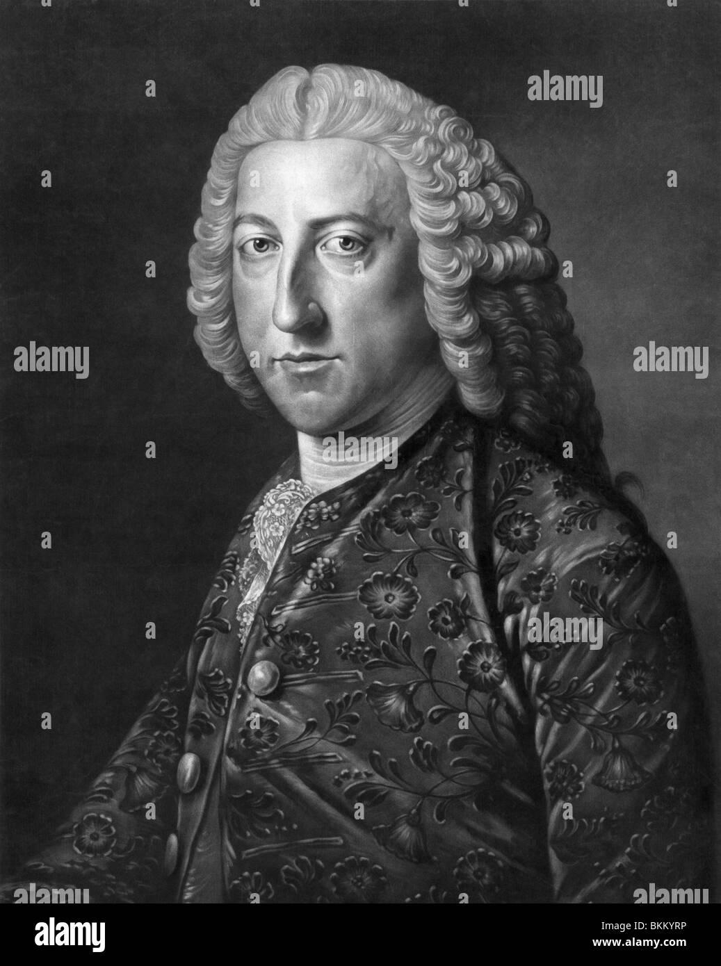 Vintage portrait print c1766 of William Pitt The Elder (1708 - 1778), 1st Earl of Chatham - British Prime Minister - Stock Image