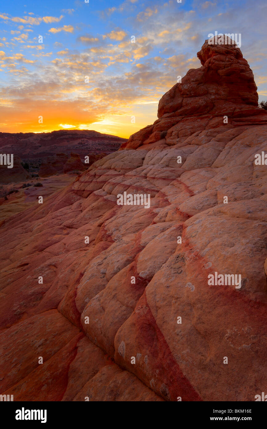 Sunset at rock formations in Vermilion Cliffs National Monument, Arizona - Stock Image