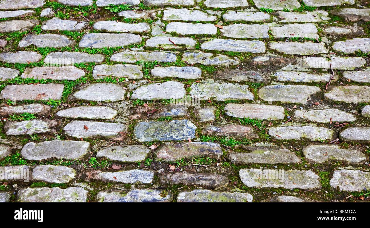 cobblestone street in tourist area - Stock Image