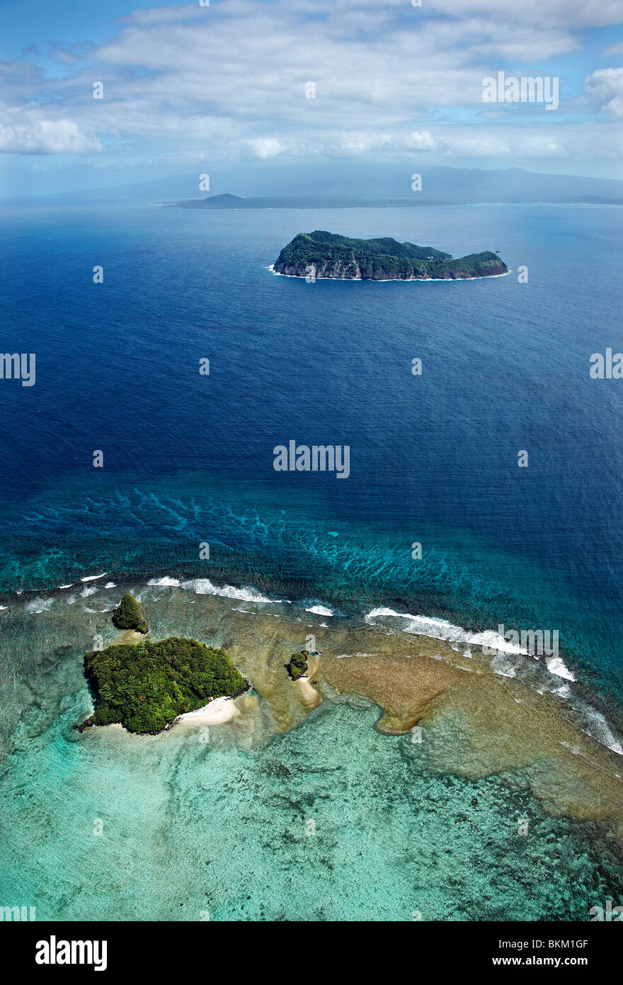 Aerial view of Nu'ulopa, Apolima & Savaii islands and reefs, Samoa - Stock Image