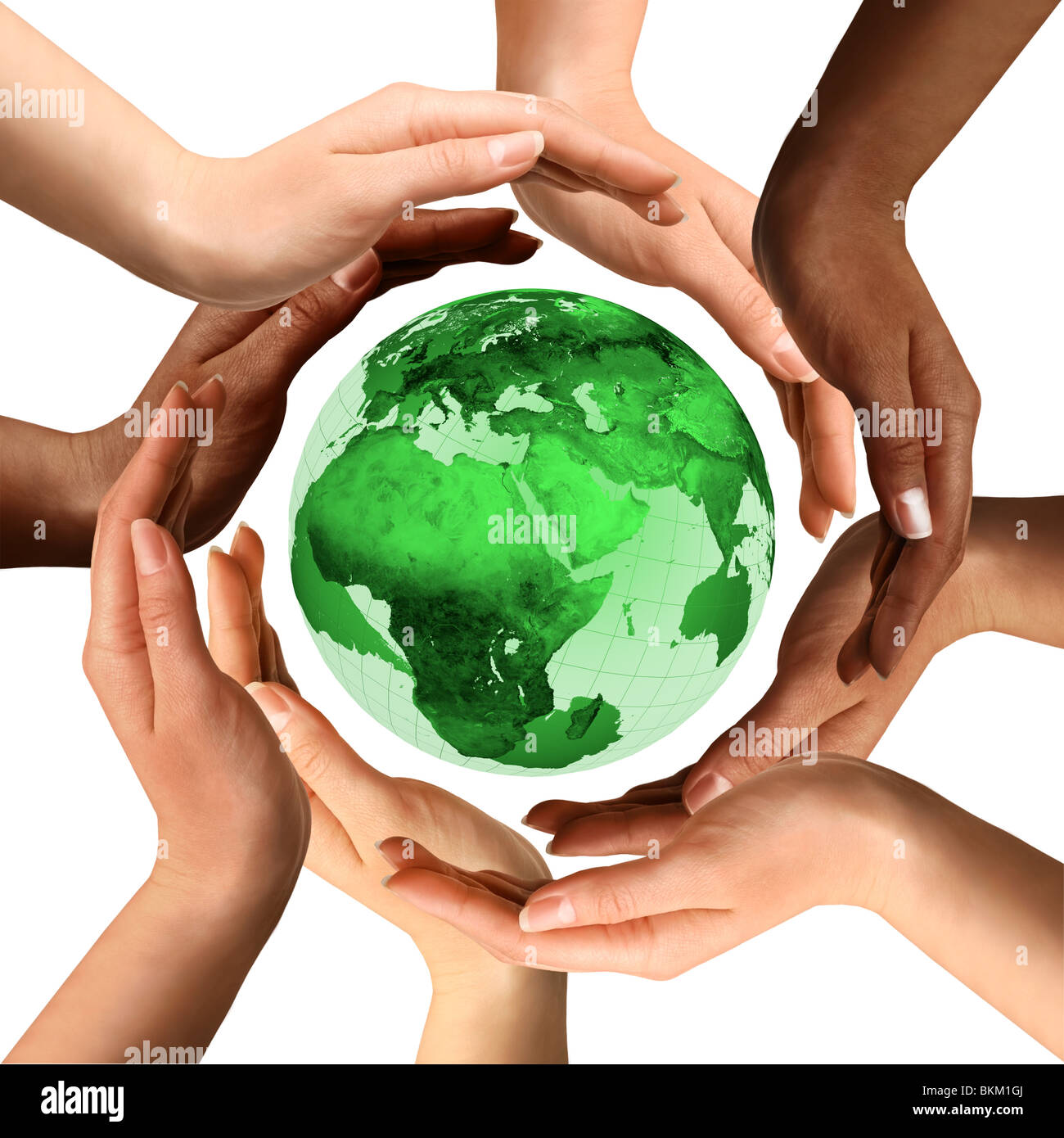 Conceptual symbol of a green Earth globe with multiracial human hands around it. Isolated on white background. - Stock Image