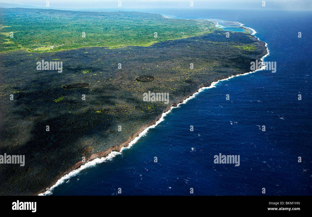 Aerial view of early 20th century lava flow, Savaii, Samoa - Stock Image