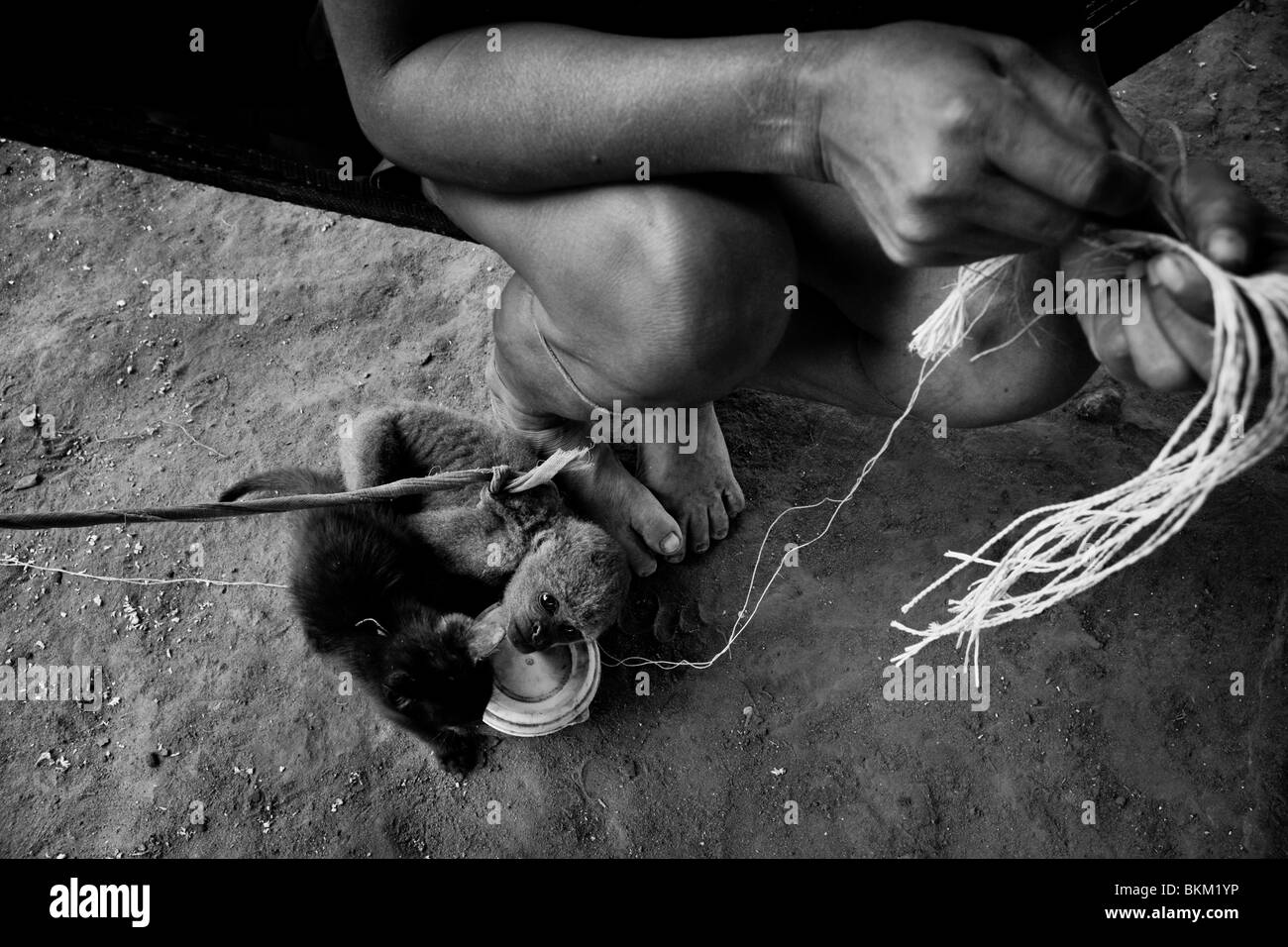 A Nukak woman works with fibres to make a hammock in a refugee camp close to San Jose del Guaviare, Colombia. - Stock Image
