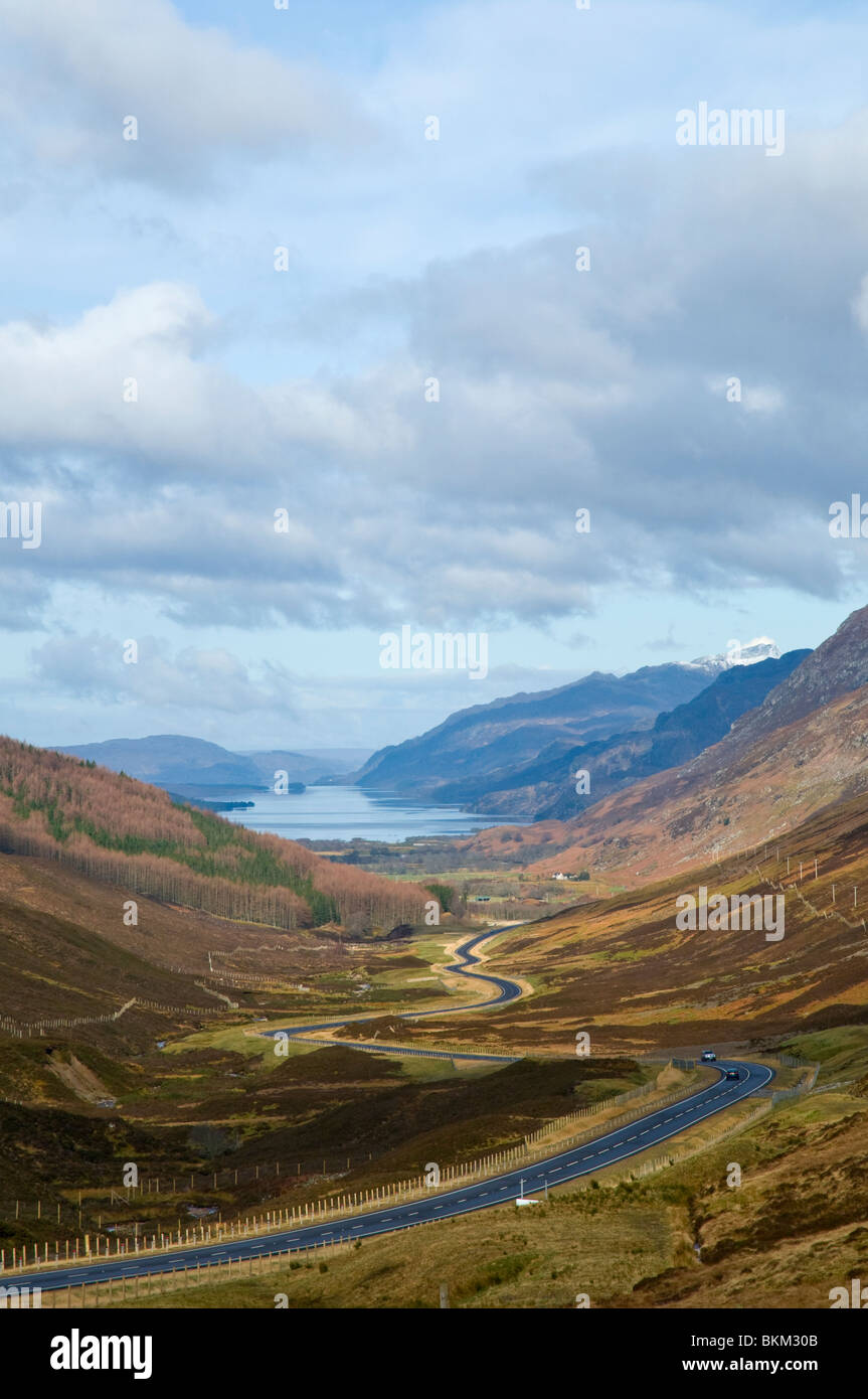 Looking down on Loch Maree from Glen Docherty Ross & Cromarty Highland Scotland - Stock Image
