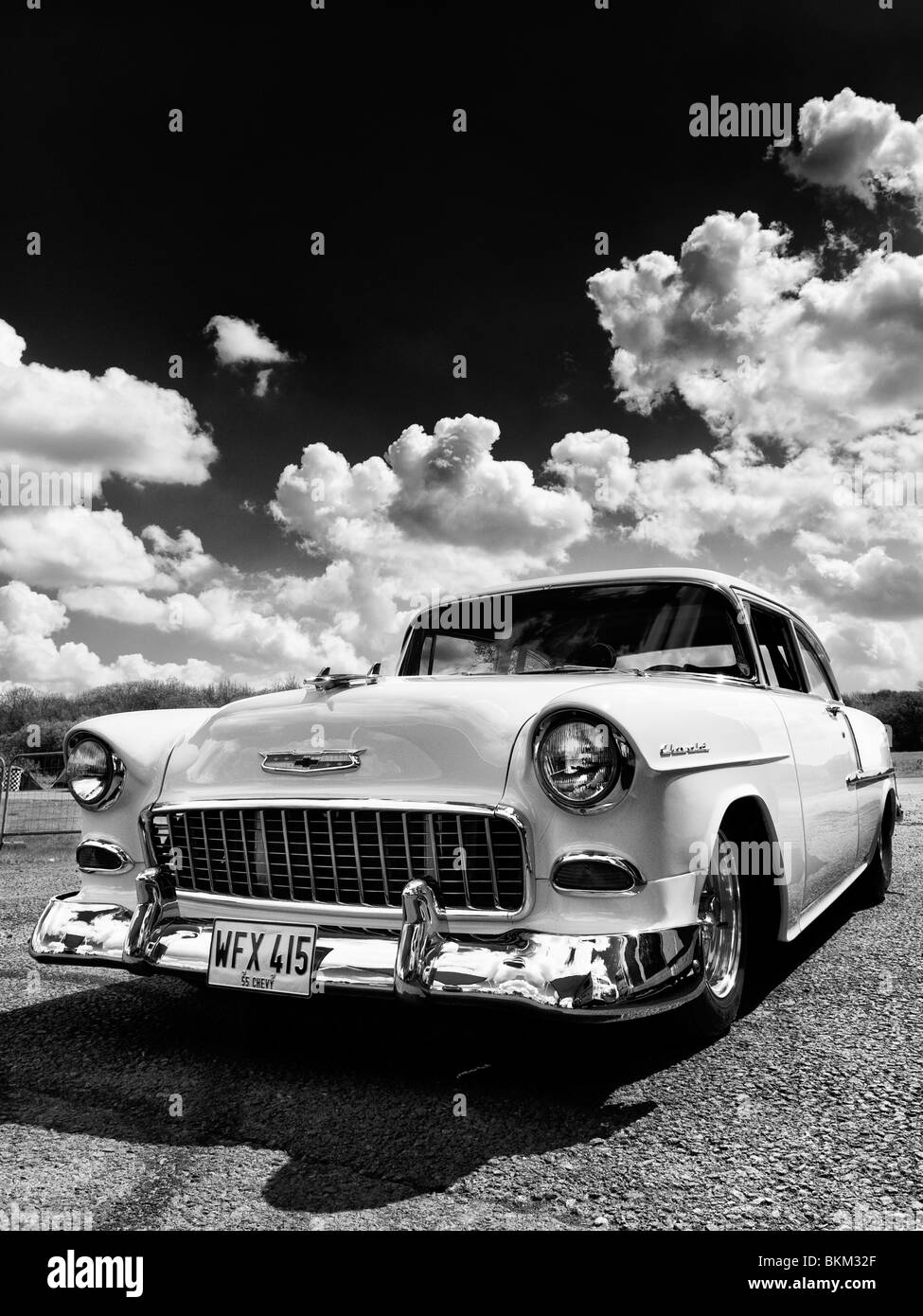 1955 Chevrolet, Bel Air. Chevy. Classic American car. Monochrome - Stock Image