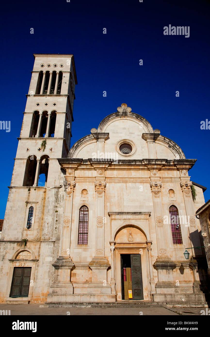Hvar Island, Hvar City, St Steven Cathedral, Croatia - Stock Image