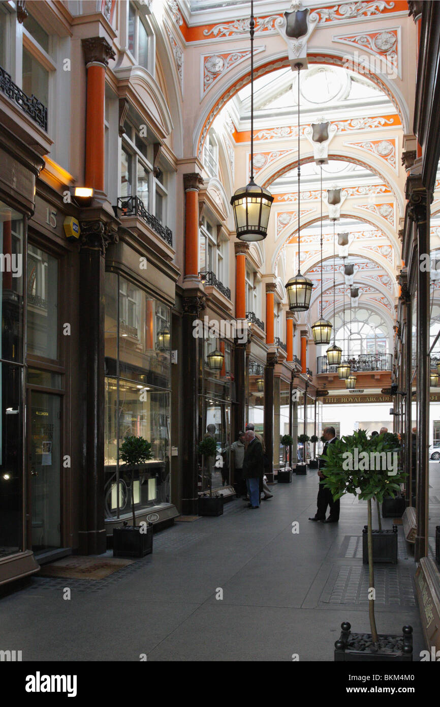 Originally known as The Arcade it was renamed the Royal Arcade after one of the shirtmakers was patronised by Queen - Stock Image