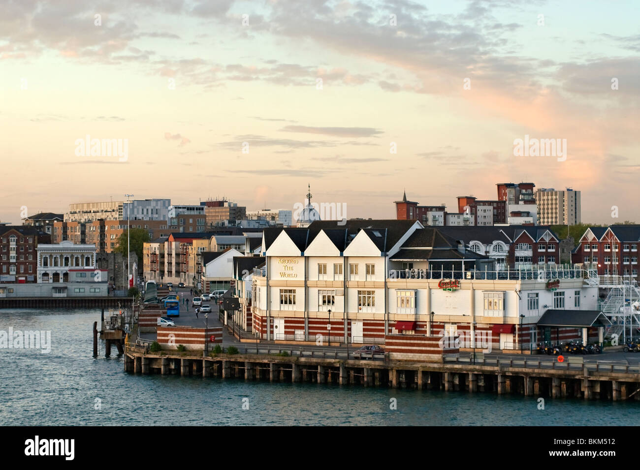 Southampton Harbour Docklands at Sunset, Hampshire, South England. - Stock Image