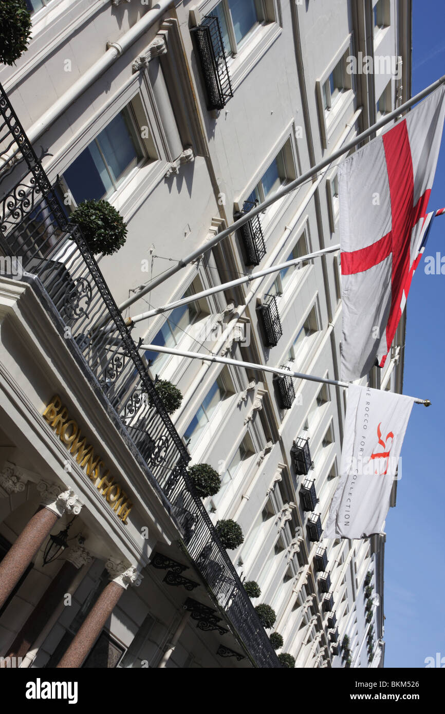 Viewed at an extreme angle is Browns Hotel in Albermarle Street, London. - Stock Image