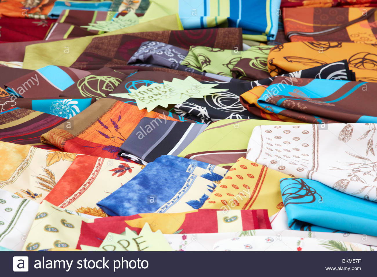 Tablecloths, Market, Cassis, France - Stock Image