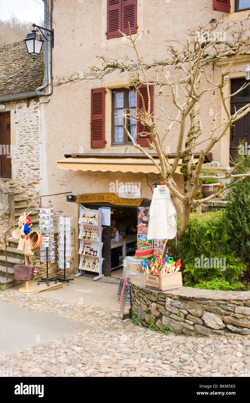 Souvenir and Gift Shop with Cafe in Belcastel Village Aveyron Midi-Pienees France - Stock Image