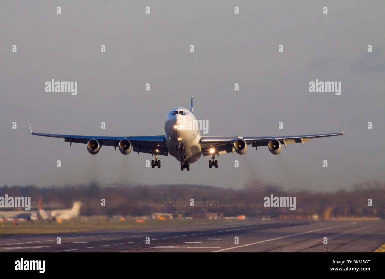 CU-T1254 Cubana Ilyushin Il-96-300 taking off from London Gatwick Airport. - Stock Image
