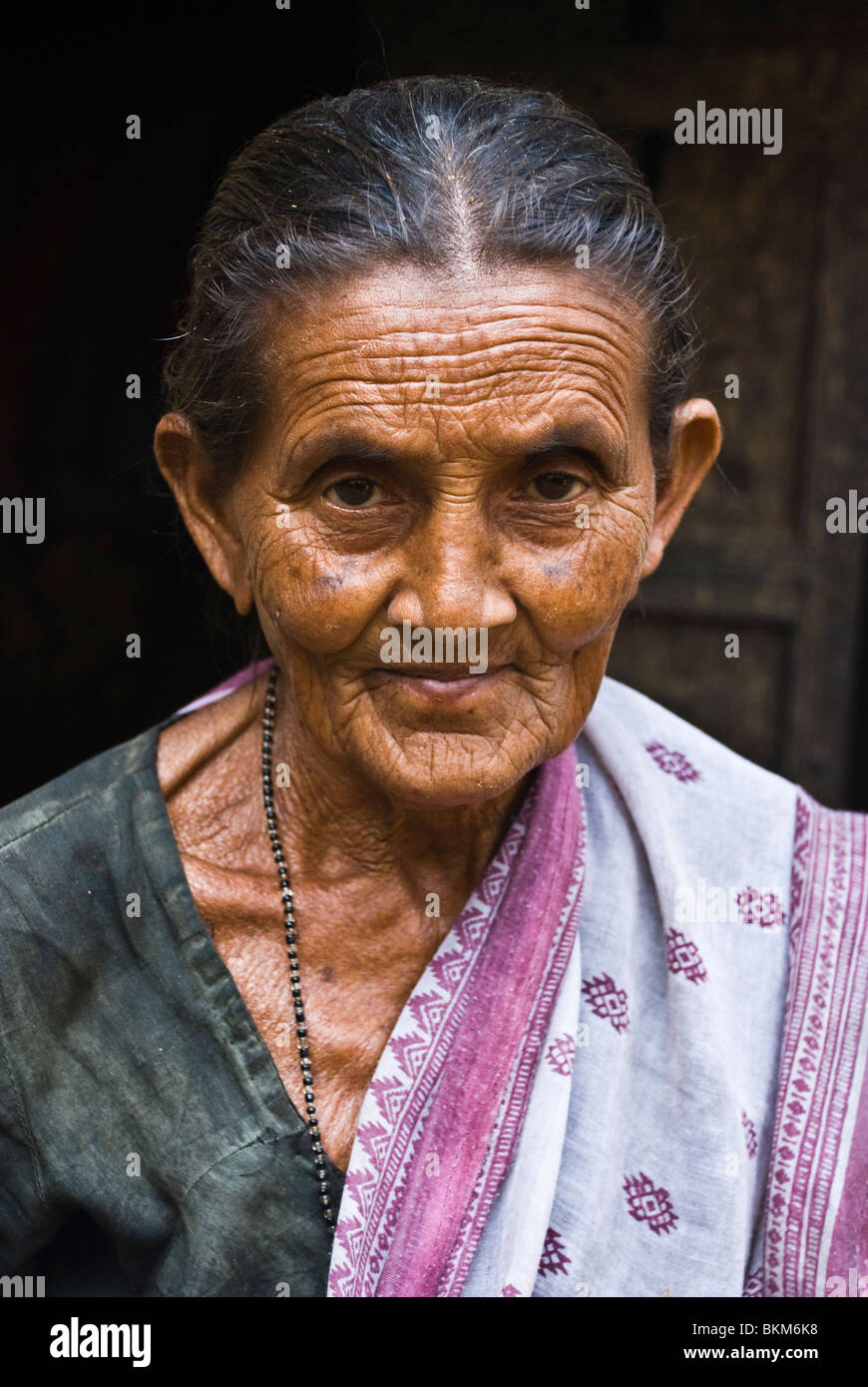 Indian old women with wrinkle face - Stock Image