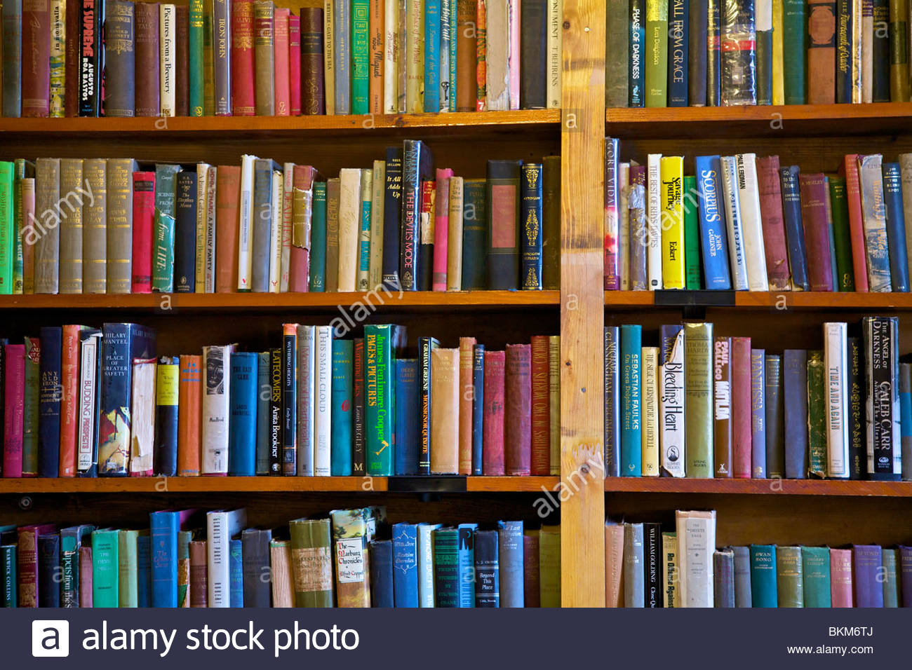 Rows of old books on a bookshelf - Stock Image