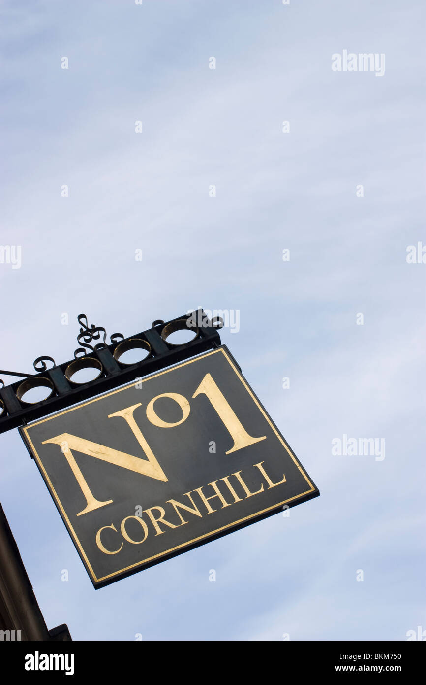 Number one cornhill sign, Cornhill London - Stock Image