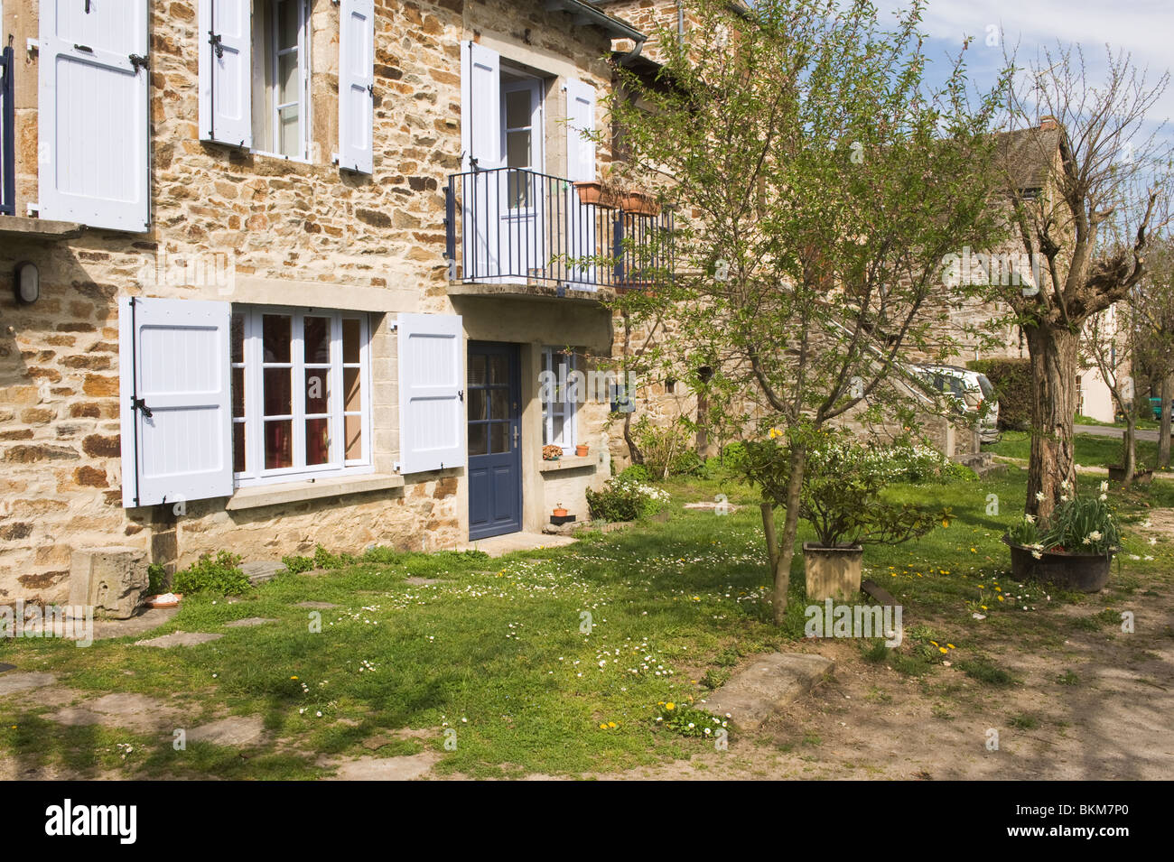 Beautiful Traditional French House In Stone At Historic Bastide Town Of Sauveterre De Rouergue Aveyron Midi Pyrenees France