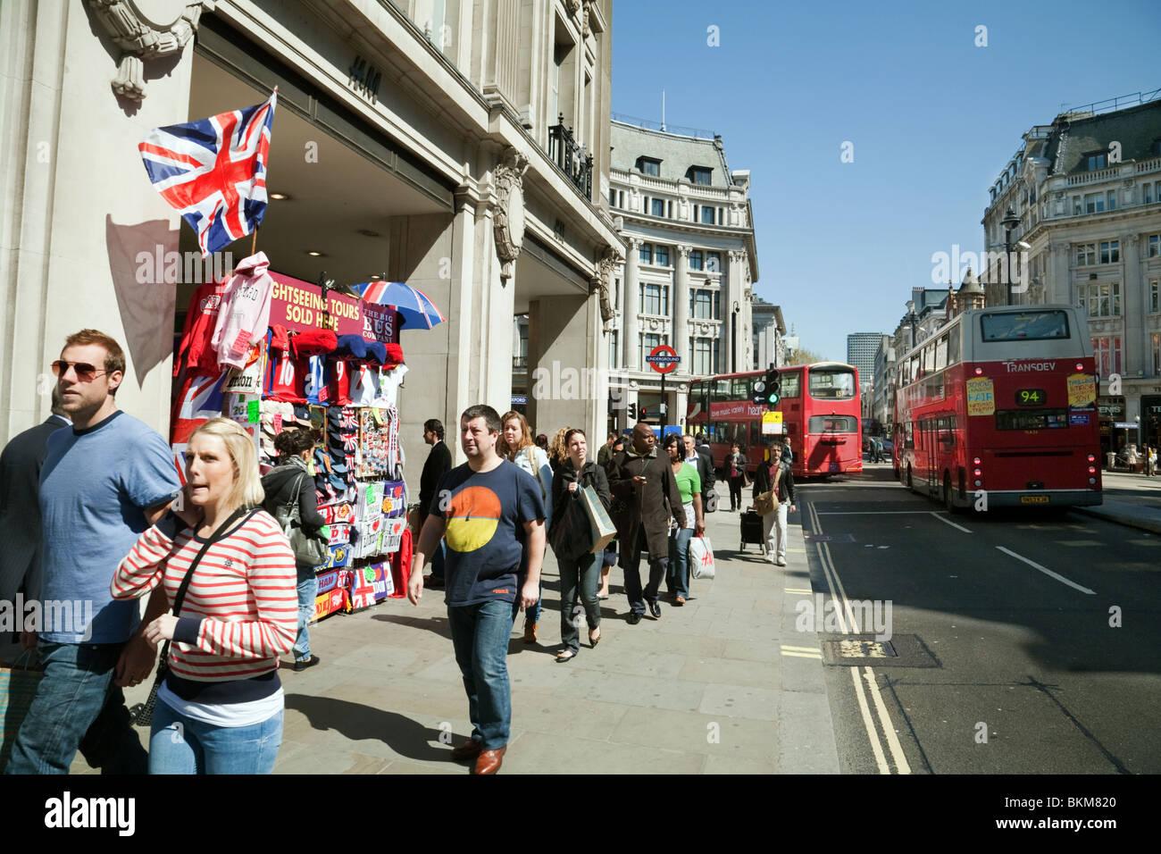 Scene on Oxford street near Oxford circus, central London, UK - Stock Image