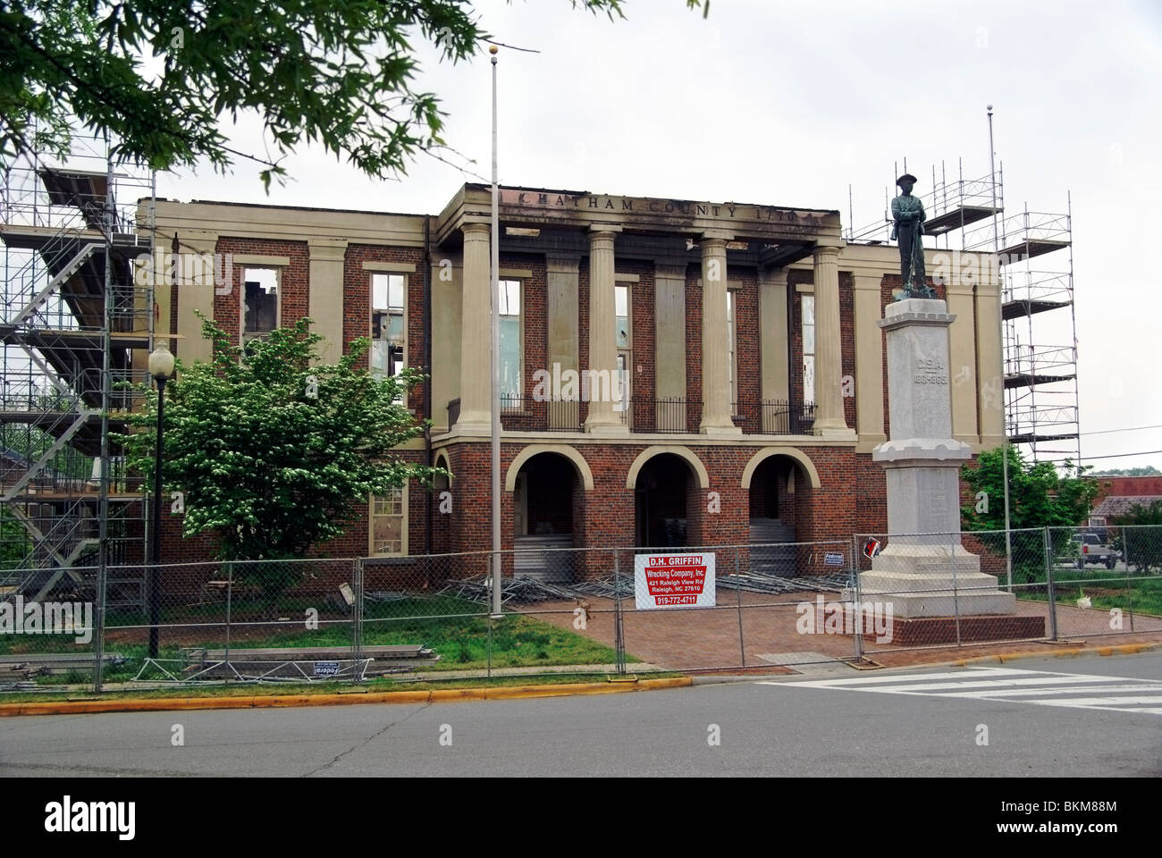 Chatham county courthouse damaged by fire on March 25th, 2010. - Stock Image