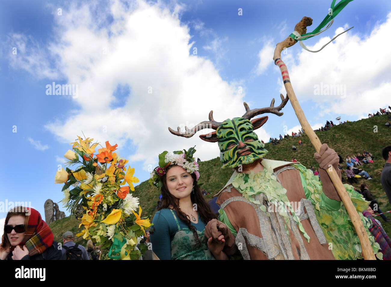 The Green Man of Clun and his May Day Queen at the Shropshire Village annual festival - Stock Image