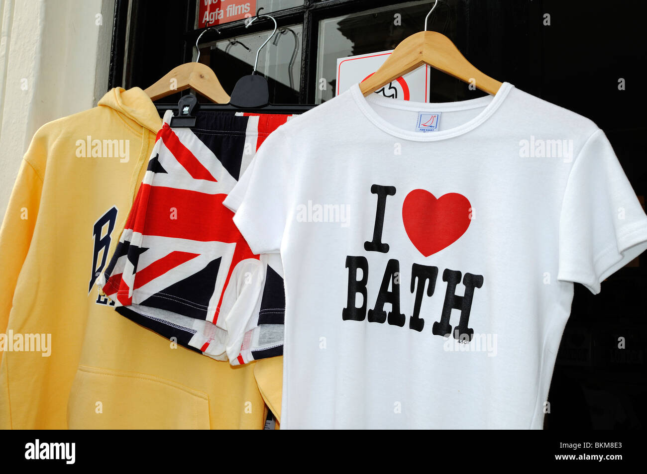 ' i love bath ' tee shirt hanging outside a shop in bath, england, uk - Stock Image