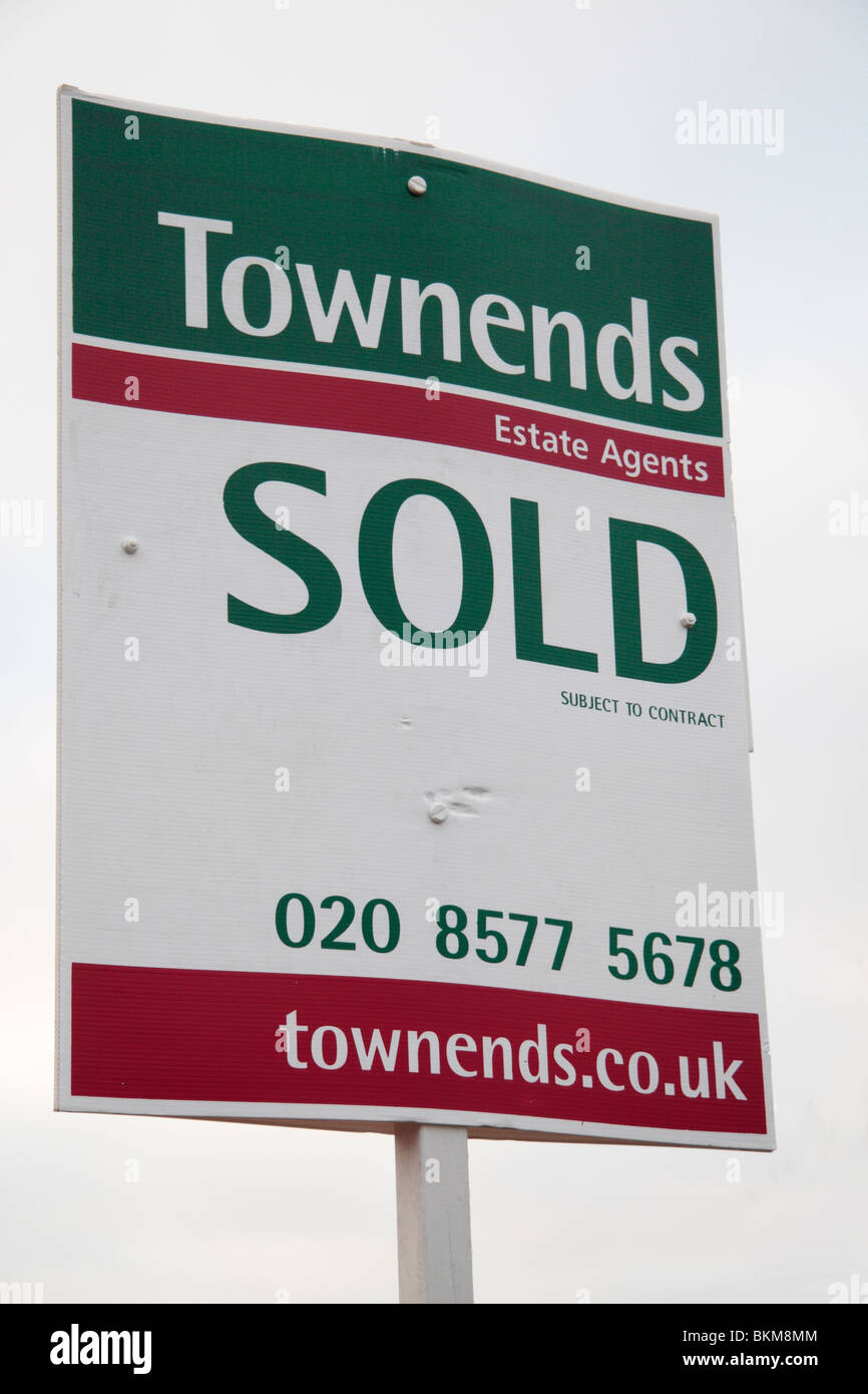 A 'Sold' estate agent sign on a London, UK street. March 2010 - Stock Image