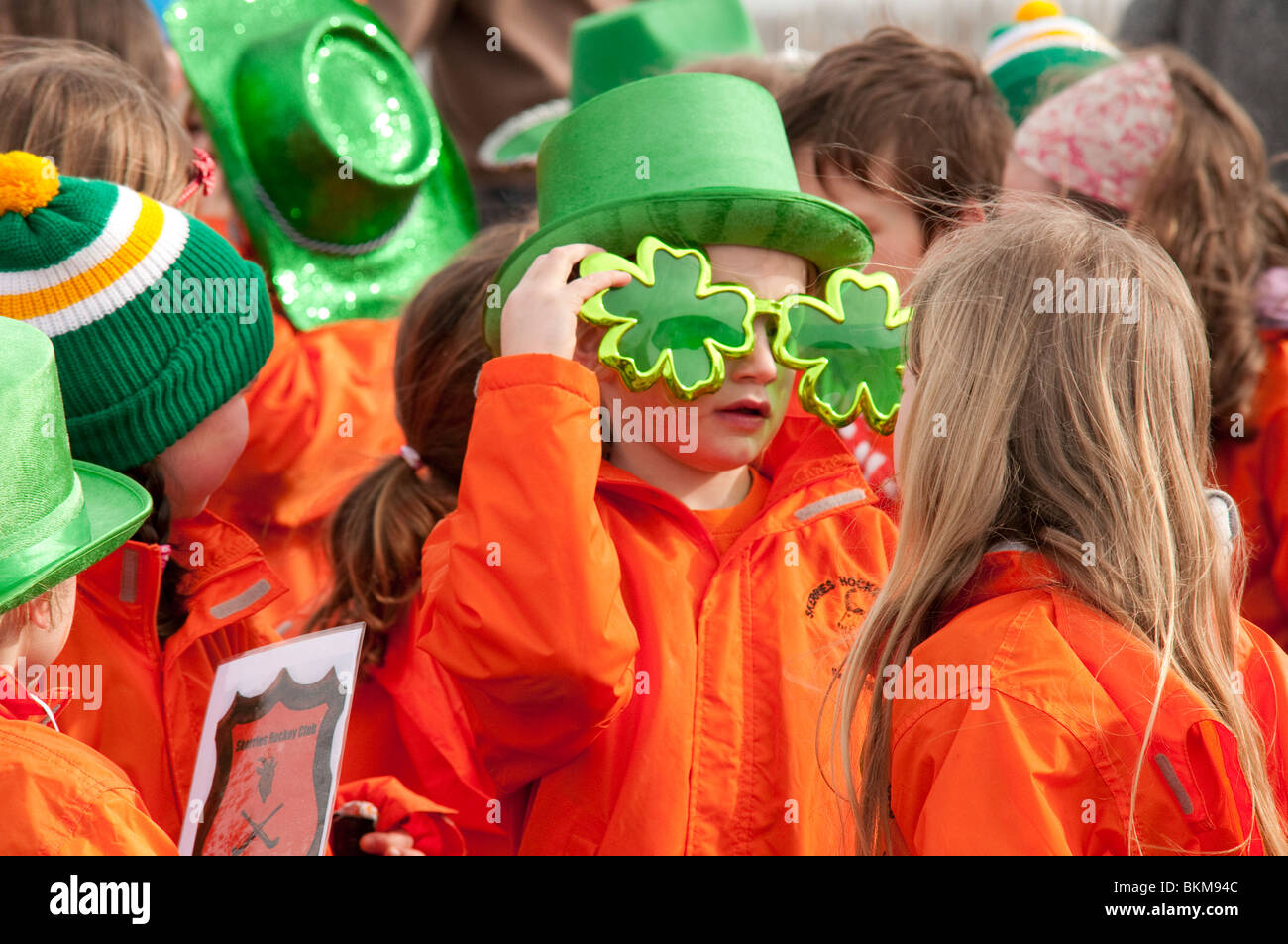Children having fun at the Saint Patrick's Day Parade in Skerries, County Dublin, Ireland 2010 - Stock Image
